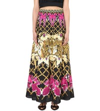 Temperley London Tropical Print Silk Maxi Skirt Black Mix