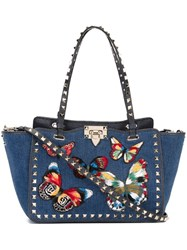 Valentino Small 'Rockstud' Jamaican Butterflies Trapeze Tote Blue