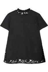 Sacai Lace Paneled Linen Blend Jersey T Shirt Black