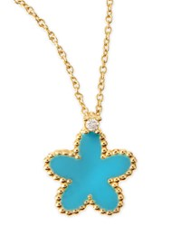 18K Yellow Gold Diamond Flower Pendant Necklace Turquoise Roberto Coin