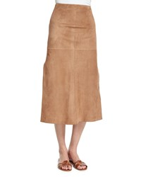 Agnona Mid Rise Skirt W Side Slit Phard Brown Women's
