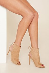 Forever 21 Faux Suede Open Toe Bootie