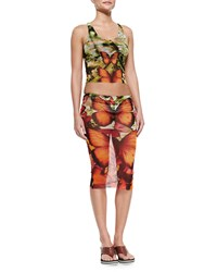 Jean Paul Gaultier Butterfly Print Skirted Two Piece Swimsuit Women's