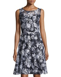 Chetta B Lace Sleeveless Fit And Flare Dress Black White