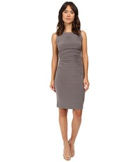 Norma Kamali Sleeveless Shirred Waist Dress Slate Women's Dress Metallic