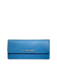 Michael Kors Jet Set Travel Slim Saffiano Leather Wallet Heritage Blue