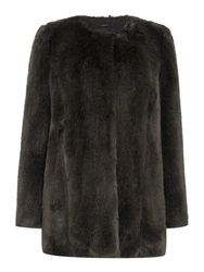 Pied A Terre Bree Faux Fur Coat Grey