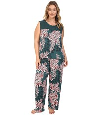Midnight By Carole Hochman Plus Size Chiffon Checkerboard Pajama Bouquet Women's Pajama Sets Brown