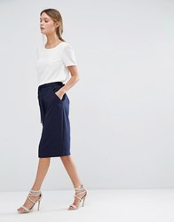 Oasis Spilt Front Pencil Skirt Navy