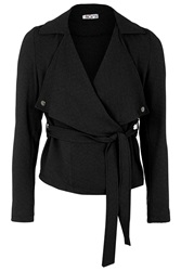 Short Belted Trench Jacket By Wal G Black