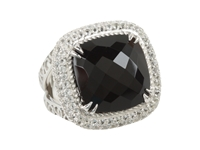 Delatori Square Black Onyx And Crystal Ring