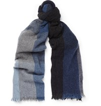 Begg And Co Checked Lambswool Cashmere Blend Scarf Blue