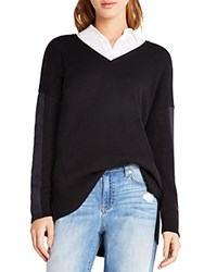 Bcbgeneration Faux Suede Sleeve Tunic Black Combo