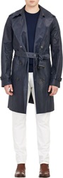 Ralph Lauren Black Label Leather Double Breasted Trench Coat Blue Size