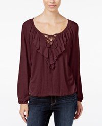 American Rag Ruffled Lace Up Peasant Blouse Only At Macy's Zinfandel