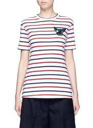 Etre Cecile 'Olympic Dog' Collage Badge Breton Stripe T Shirt Multi Colour