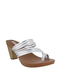 Mia Virgo Leather Toe Ring Sandals White