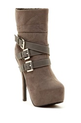 Red Circle Aquino Multi Strap Bootie Gray