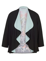 Chesca Floral Border Print Jersey Shrug Black