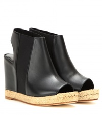 Balenciaga Rope Leather Peep Toe Wedges Black