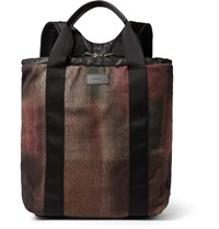Paul Smith Harlequin Leather Trimmed Checked Wool Flannel Backpack Brown