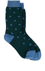 Maria La Rosa Women's Polka Dot Mid Calf Socks Green