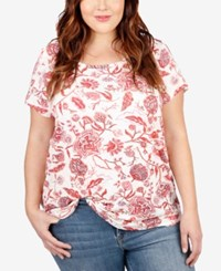 Lucky Brand Plus Size Floral Print T Shirt Medium Red