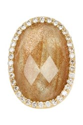 Rivka Friedman 18K Gold Clad Faceted Rutilated Crystal Mother Of Pearl Doublet And Simulated Diamond Bezel Satin Ring Metallic