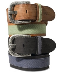 Guess Canvas Leather Casual Belt Luggage