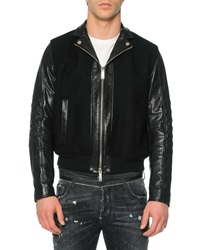 Dsquared2 Leather Wool Moto Bomber Jacket Black
