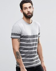 Only And Sons T Shirt With Painted Breton Stripe Light Grey Marl