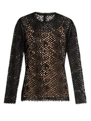 Alexander Wang Long Sleeved Corded Lace Top Black