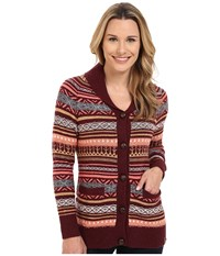 Woolrich Blazing Star Fair Isle Cardigan Fig Multi Women's Sweater Red