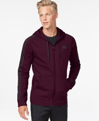 Adidas Essentials Cotton Fleece Full Zip Hoodie Maroon