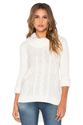 Lamade Lightweight Cable Oversized Cowlneck Sweater Ivory
