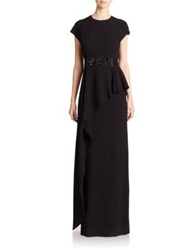 Teri Jon By Rickie Freeman Cap Sleeve Peplum Gown Black