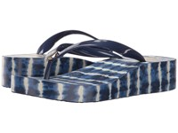 Tory Burch Classic Wedge Flip Flop Navy Sea Ziggy Women's Sandals Blue