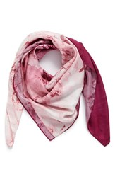 Nordstrom Women's Studies In Oils Square Silk Scarf Pink Combo