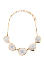 Forever 21 Faux Gemstone Statement Necklace Gold Grey
