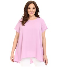 Vince Camuto Plus Size Short Sleeve High Low Hem Blouse Orchid Crush Women's Blouse Pink