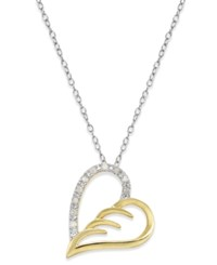 Macy's Diamond Two Tone Angel Wing Pendant Necklace 1 10 Ct. T.W. In Sterling Silver And 18K Gold Plated Sterling Silver