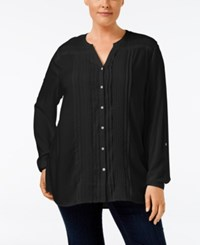 Jm Collection Plus Size Embellished Peasant Blouse Only At Macy's Deep Black