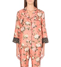 F.R.S. For Restless Sleepers Floral Print Silk Shirt Pink Flower