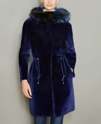 The Fur Vault Fox Trim Hooded Shearling Lamb Coat Blue