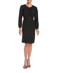 Vince Camuto Lace Yoke Shirt Dress Rich Black