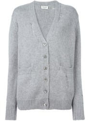 Saint Laurent Distressed Knit Cardigan Grey