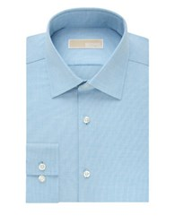Michael Michael Kors Slim Solid Cotton Dress Shirt Aqua