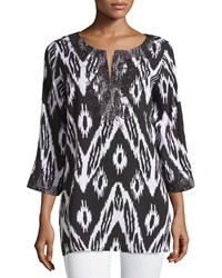 Joan Vass 3 4 Sleeve Embroidered Ikat Print Tunic Black White