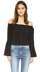 Yumi Kim Ruffle Off Shoulder Top Black