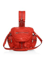 Alexander Wang Marti Mini Convertible Leather Backpack Lipstick Red